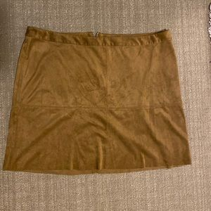 Faux Suede Mini Brown Skirt